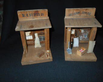 Primitive RR Station and General Store Hand Made Dioramas