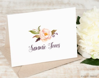 Personalized Notecard Set / Folded Personalized Thank You Cards / Stationery / Pretty Pink Script Elegant Stationary Cards // SWEET FLOWER