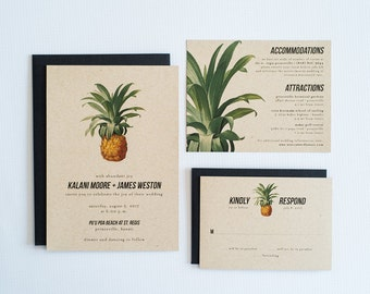 Pineapple, Tropical Wedding Invitation, Hawaiian Wedding Invite: KALANI.
