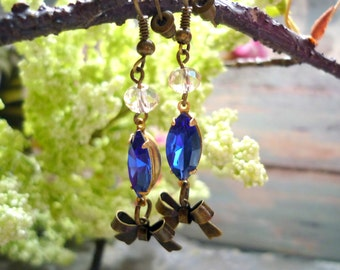 crystal rhinestone blue  earring, long  earring, vintage inspired earring, downton abbey inspired earring, vintage inspired earring,