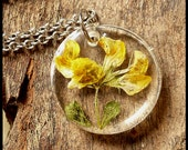 Yellow flower resin pendant, nature necklace silver tone, handmade dried flower pressed, natural ecological jewelry, unique, 15% off ship