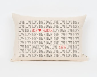Cute Anniversary Gift, Gift for Couple, Personalized Pillow, Love Pillow, Wedding Date Gift, Unique Throw Pillow, Custom Pillow