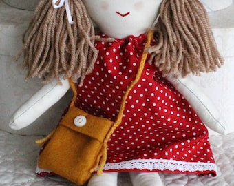 Traditional rag doll, little doll, cloth doll, doll for little girl, handmade soft toy, forever doll, fabric toy