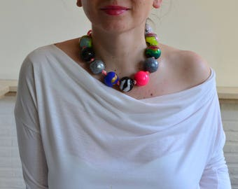 Neon necklace,  large bead necklace, colorful necklace, summer fashion, colorful accessory, original jewelry, ball necklace, neon jewellry