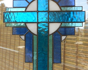 Stained Glass Cross Suncatcher, Aqua #111