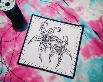 Tiger Lily Embroidered Patch