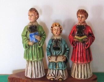 Vintage Caroler Figures, Japan, Set of 3, chalk or plaster