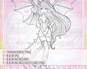 Fire Dragon Woman UNCOLORED Digital Stamp Image Adult Coloring Page jpeg png jpg Fantasy Craft Cardmaking Papercrafting DIY