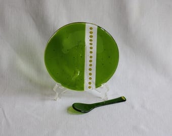 Fused Glass Spoon and Plate - Green