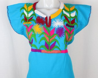 Maize- Embroidered Multicolor Mexican Huipil on 100% Cotton- Blue- BOHO-Hippie- Corn- Elote- Frida Kahlo