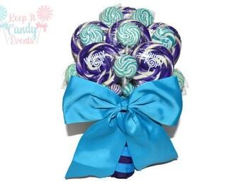 Purple and Turquoise Lollipop Bridal Bouquet, Purple Bouquet, Turquoise Bouquet, Candy Bridal Bouquet, Purple and Blue Bouquet, Bouquet Idea