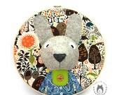 Custom rabbit embroidery hoop wall art, 3D bunny portrait, wall art, nursery decor, animal portrait, wall hanging, woodland themed bedroom