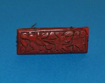 Antique Cinnabar Pin Brooch, China, Chinese Export