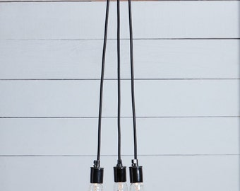 Bare Bulb Chandelier - 3 Lights - Color Cord