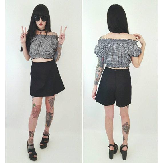 90s Vintage Black Mini Skort - Small Medium Miniskirt Shorts - 1990s Fashion Shorts Under Mini Skirt - Classic Basic Grunge Style Wrap Skirt