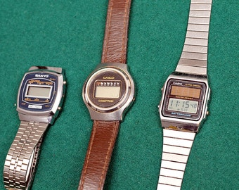 3 vintage Casiotron, Sanyo, Casio digital watches/ vintage