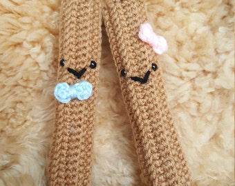 Happy Pair of Crochet Amigurumi Churro Plushies, Ridges Churro Bar