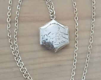 Vintage sterling silver hexagonal shaped locket and chain