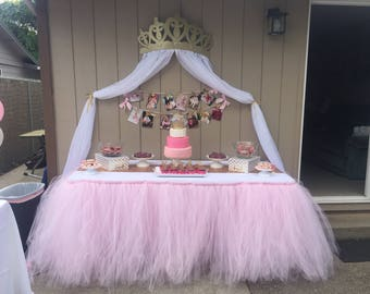 Light Pink Tulle tutu Table Skirt