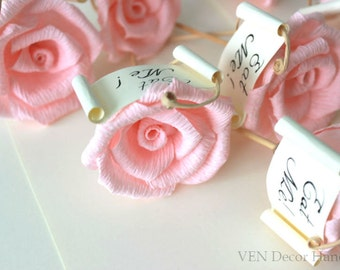 12 Rustic Flower Cupcake Toppers, Custom Flower Cupcake Decor, Rose Cupcake Topper, Rustic Wedding Party Cupcake Picks, Cupcake Decorations