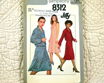 Dress Jacket, M, Simplicity 8312 Pattern, Sleeveless, V Neck, Back Zipper, Drawstring Waist, 1977 Uncut, Size 12