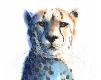 CHEETAH ART PRINT -  watercolor cheetah print, cheetah decor, cheetah wall art, big cat art, wildlife watercolor animal print