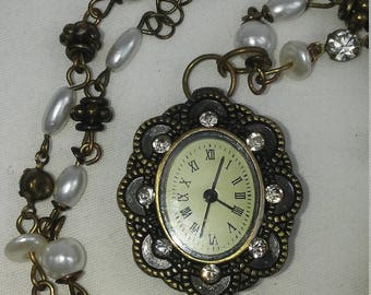 Handmade Watch Necklace Vintage Style Jewelry Pearls Crystals Bronze