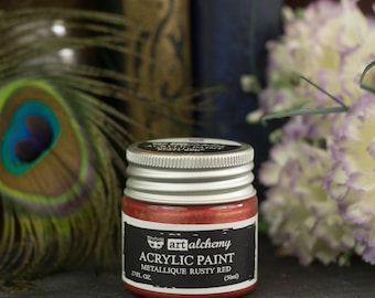Rusty Red Steampunk Acrylic Paint - Red Acrylic Paint - Mixed Media and Art Journal Supplies for your Steampunk Projects