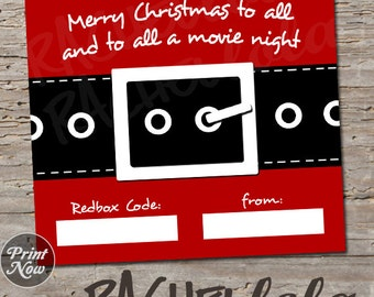 Redbox Code Gift Tag, Santa Suit, digital, instant download