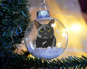 Black Kitty Cat Christmas Ornament personalized memorial floated paper glass bulb gift