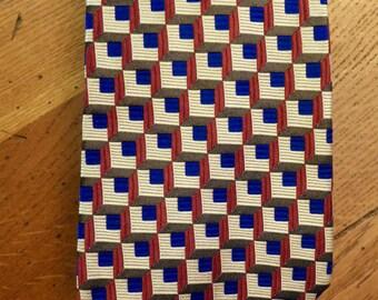 Vintage Men's Silk Necktie - Vibrant Geometric Pattern