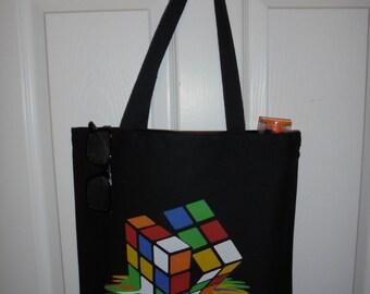 Black Melting Rubix Cube Heavy Duty Canvas Tote Bag