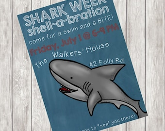 Shark Week Party Invitation for Pool Party
