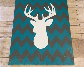 12X16 Wooden Chevron  Patterned Deer head Wall Decor....Teal Chevron White deer silhouette