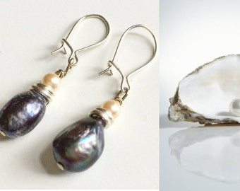 Earrings with fresh water pearls and sterling silver accents / Sundance style jewelry