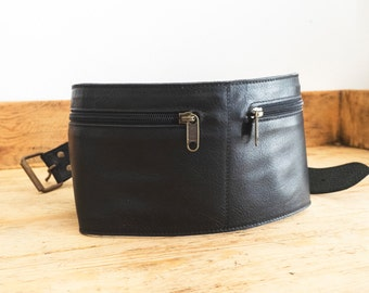 Black leather FANNY PACK // Leather belt bag // Leather Hip Bag belt // Waist bag // Leather Bum bag // Travel Pouch // Fanny packs BELT
