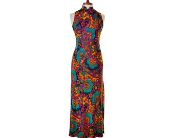 Vintage 1960's Psychedelic Peacock Cheongsam Dress