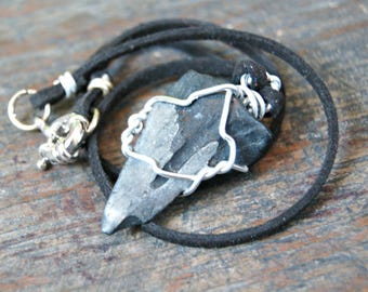 Shark Tooth Necklace, Shark Tooth Pendant, Fossil Necklace, Leather Necklace, Gift for Boyfriend, Boyfriend Gift, Anniversary Gift, For Him