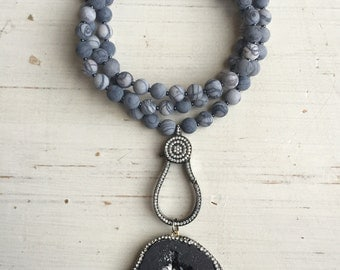 Pave Crystal Black Druzy Stone Pendant with Matte Black Stripe Jasper and Gunmetal Pave Crystal Large Clasp