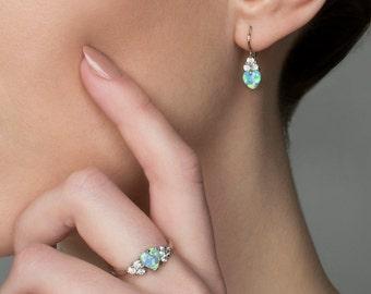 Gentle Handmade Sterling Silver or 14K Gold Opal Earrings with Clear Zircons. Mira. Opal earrings for women. Opal jewelry. FREE shipping