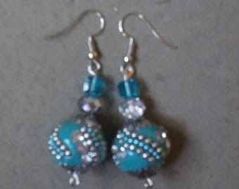 Blue and Silver Ball Earrings