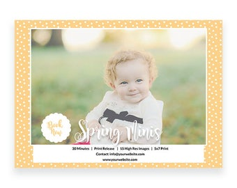 Mini Session For Photographers - Colorful Spring Photography Marketing Template - Instant Download Marketing Template - Layered PSD c135