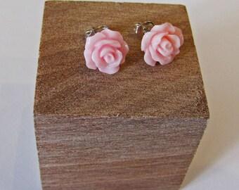 Pink - Rose Flower Stud Earrings - Hypoallergenic