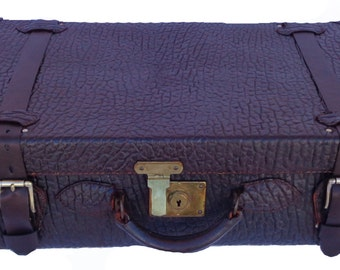 C 1950 Vintage Walrus Leather Travel Trunk