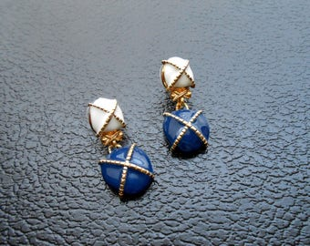 80s vintage earrings - nautical earrings blue white gold earrings - 80s Pirates of the Lake earrings