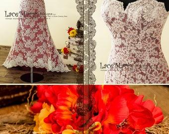 High Low Skirt Wedding Dress in A Line Shape | Colorful Wedding Dress, High Low Dress, Strapless Wedding Dress, Red Wedding Dress