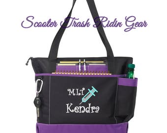 Free Shipping - Personalized Med Lab Tech Tote Bag - More Colors - monogrammed - One Day Processing