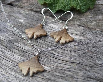 Matching Ginkgo earrings & necklace, Teeny Tiny Itty Bitty Jewelry, Ginkgo leaf Jewelry set, Ginkgo Pendant, Herbal Nature lover Jewelry,