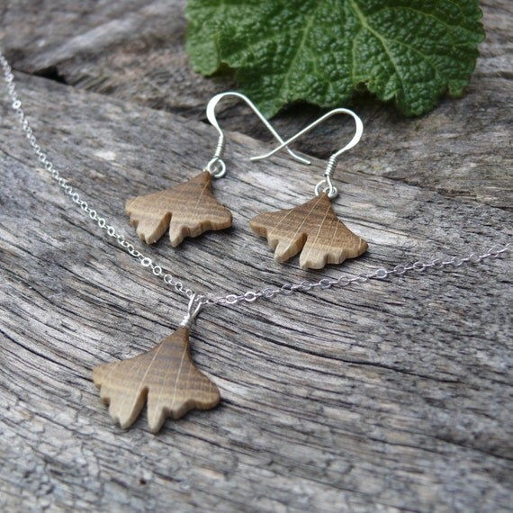 Matching Ginkgo earrings & necklace, Teeny Tiny Itty Bitty Jewelry, Ginkgo leaf Jewelry set, Ginkgo Pendant, Herbal Nature lover Jewelry,