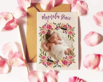 Floral Boho Birth Announcements for a Baby Girl - Modern Calligraphy Baby Announcements